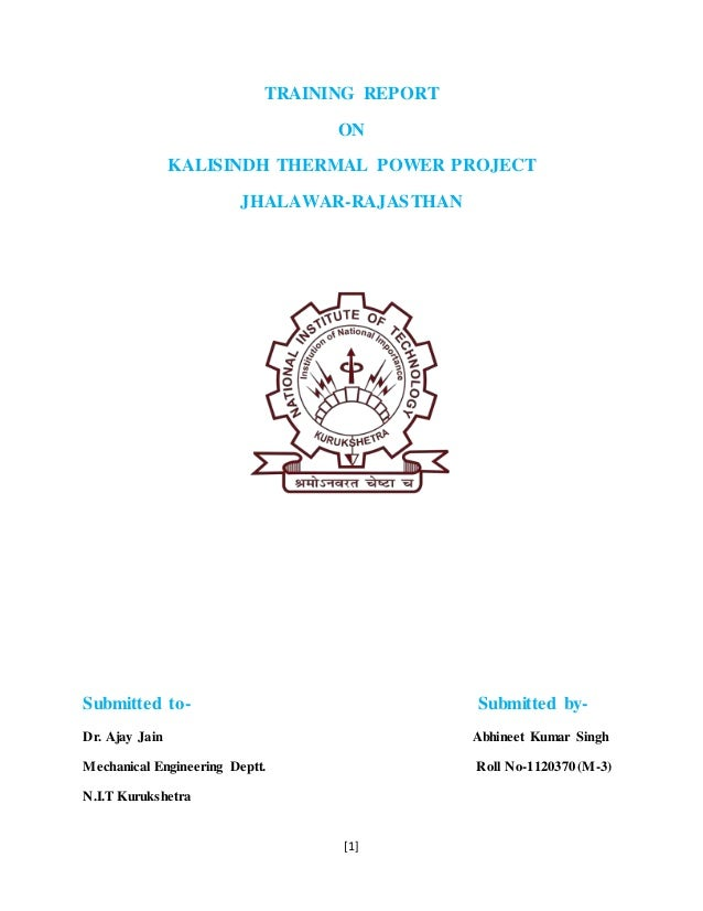 Summer Training Report On Kalisindh Thermal Power Plant