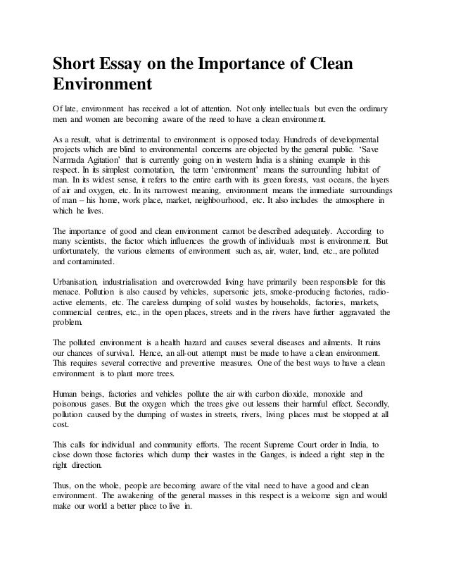 Essay on environmental cleanliness