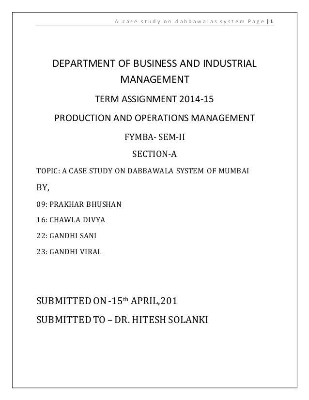 mumbai dabbawala case study solution
