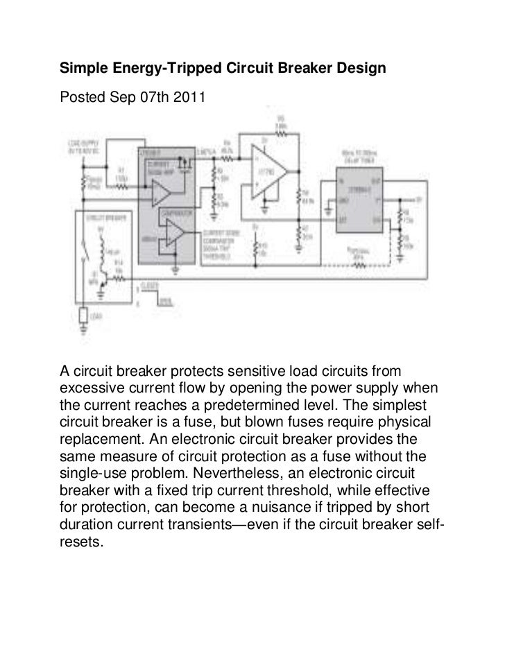 Simple Energy-Tripped Circuit Breaker DesignPosted Sep 07th 2011A circuit breaker protects sensitive load circuits fromexc...