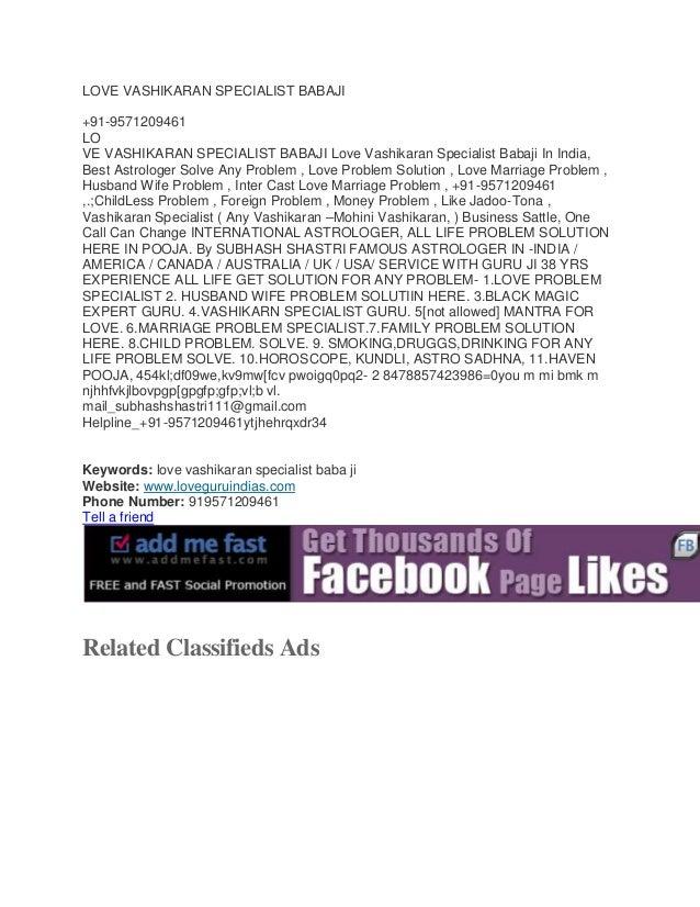 LOVE VASHIKARAN SPECIALIST BABAJI +91-9571209461 LO VE VASHIKARAN SPECIALIST BABAJI Love Vashikaran Specialist Babaji In I...