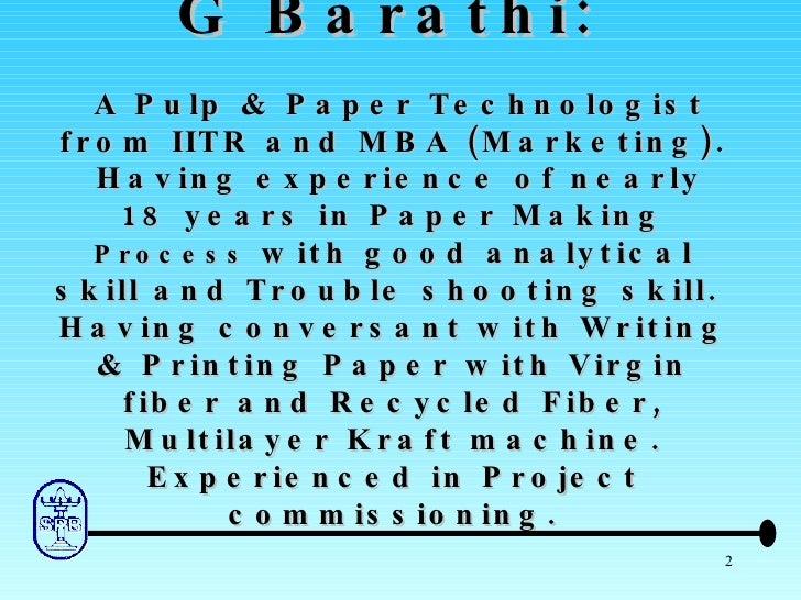 Water Conservation in Paper Machine Slide 2