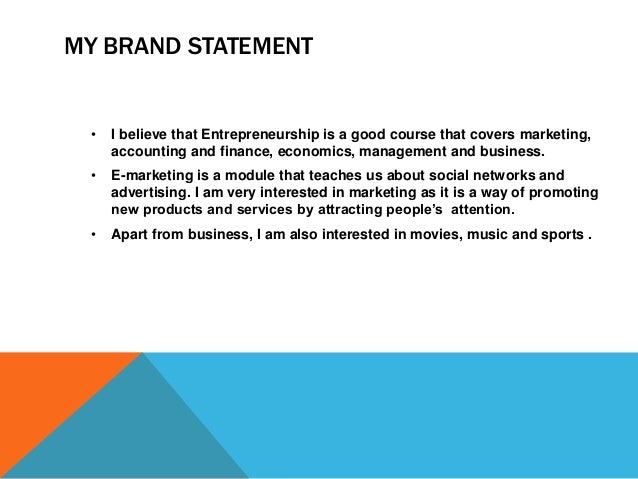 personal brand statement finance Your personal brand is the value you bring to your profession as well as your  community activities and personal interests.