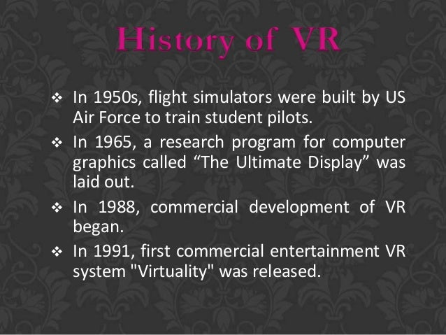  Immersive  Augmented  Projected  Window on a world system(desktop) Types of Virtual Reality