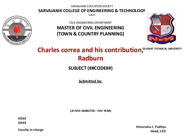 SARVAJANIK EDUCATION SOCIETY  SARVAJANIK COLLEGE OF ENGINEERING & TECHNOLOGY SURAT  CIVIL ENGINEERING DEPARTMENT  MASTER O...