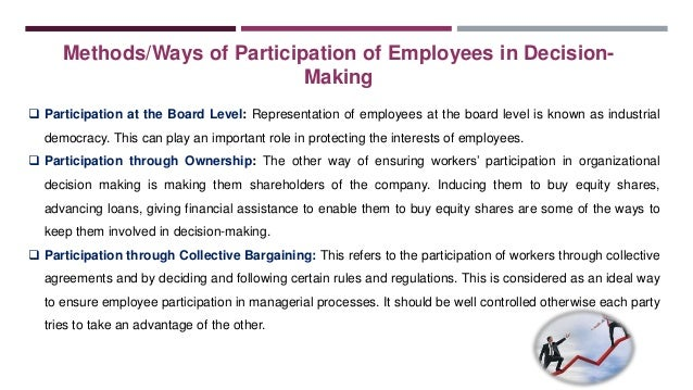 employee participation in decision making essay Non-representative groups: fostering employee participation in workplace decision-making part i of this essay provides historical information on.