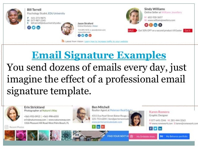 email signature examples you send dozens of emails every day just imagine the effect of