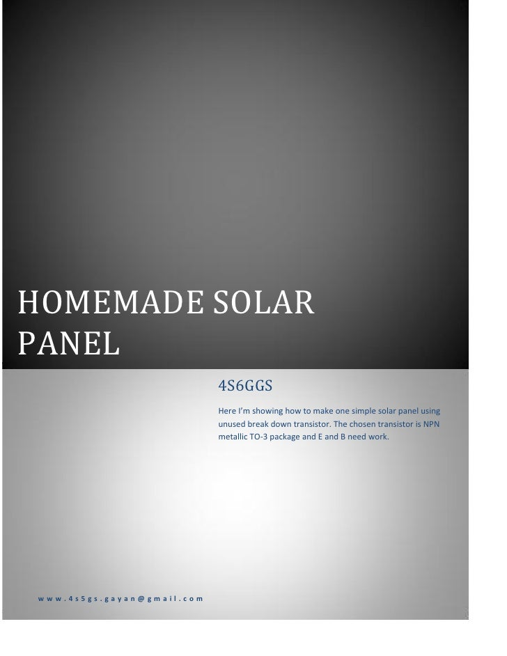 HOMEMADE SOLARPANEL                            4S6GGS                            Here I'm showing how to make one simple s...