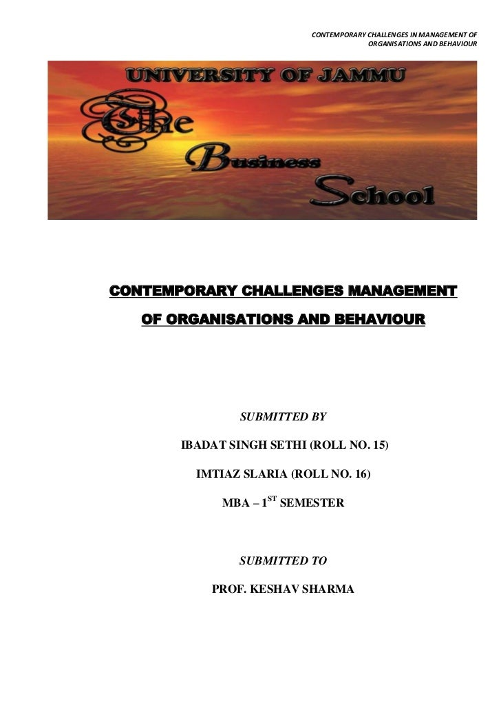 Challenges of Modern Management