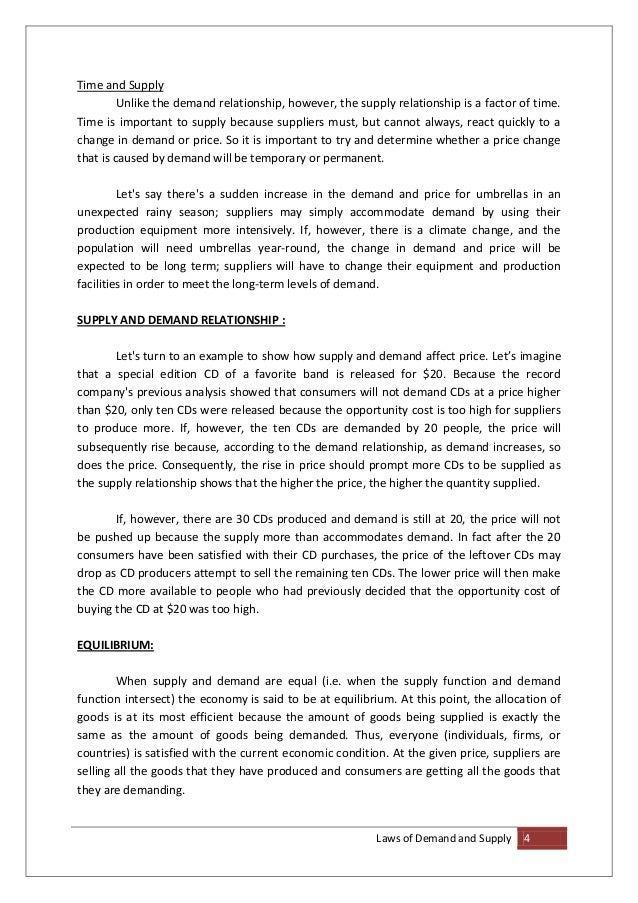 Supply And Demand Essay  High School Essay Samples also Essay With Thesis Statement  Thesis Statement For Friendship Essay