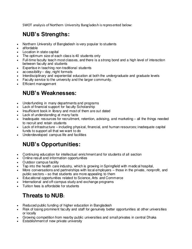 the swot analysis of the north