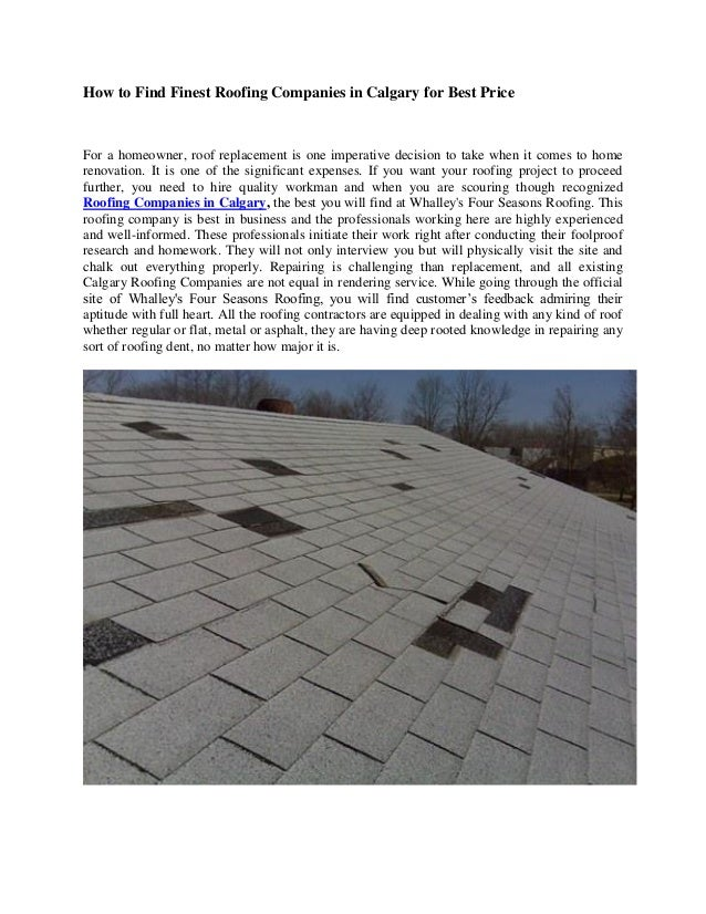 How To Find Finest Roofing Companies In Calgary For Best Price