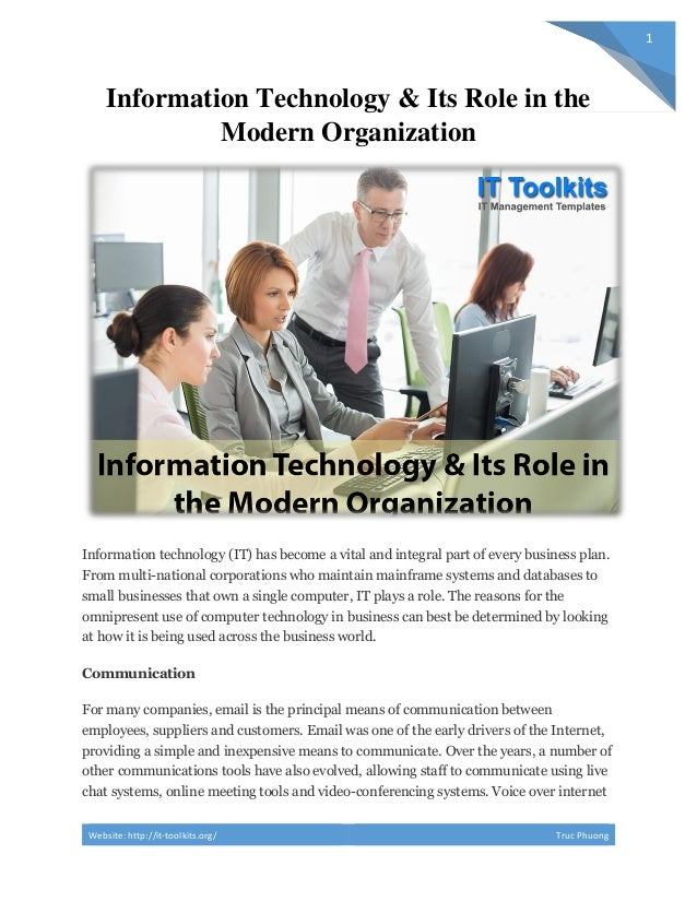 Information Technology Its Role In The Modern Organization