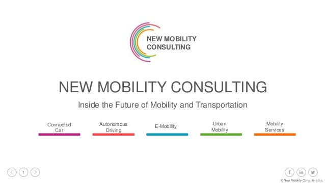 1 Inside the Future of Mobility and Transportation NEW MOBILITY CONSULTING NEW MOBILITY CONSULTING Connected Car Autonomou...