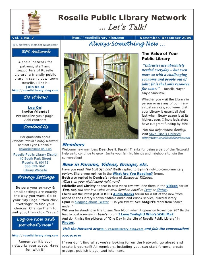 Roselle Public Library Network                                                           ... Let's Talk! Vol. 1 No. 7     ...