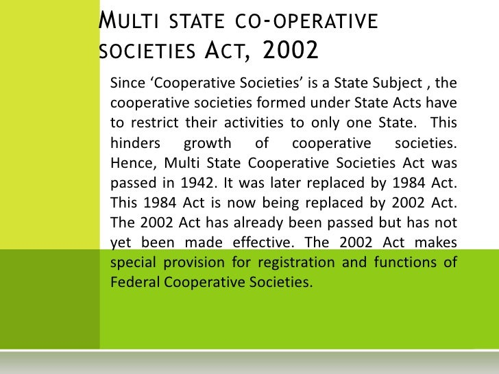 Section 11 in The Multi-State Co-operative Societies Act