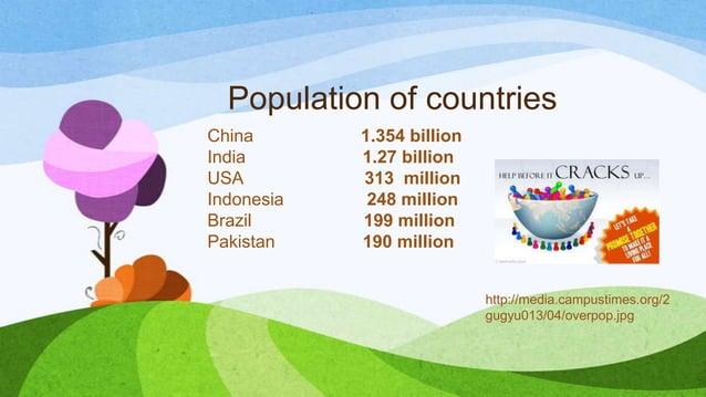 Population of countries China 1.354 billion India 1.27 billion USA 313 million Indonesia 248 million Brazil 199 million Pa...