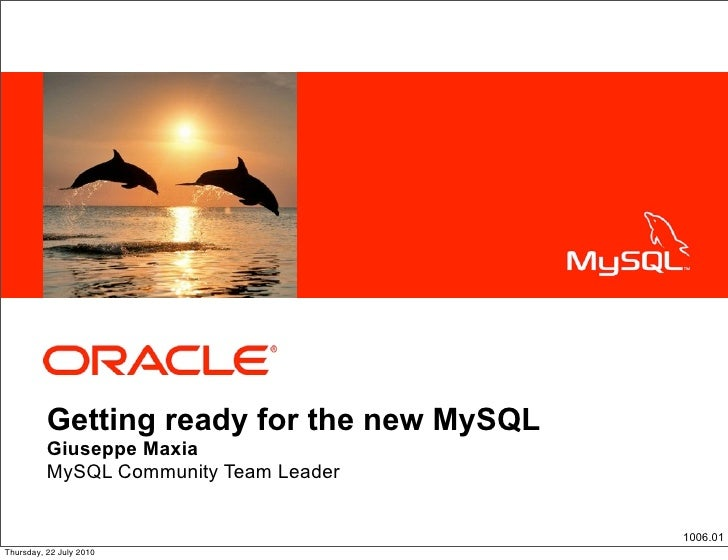 <Insert Picture Here>               Getting ready for the new MySQL           Giuseppe Maxia           MySQL Community Tea...