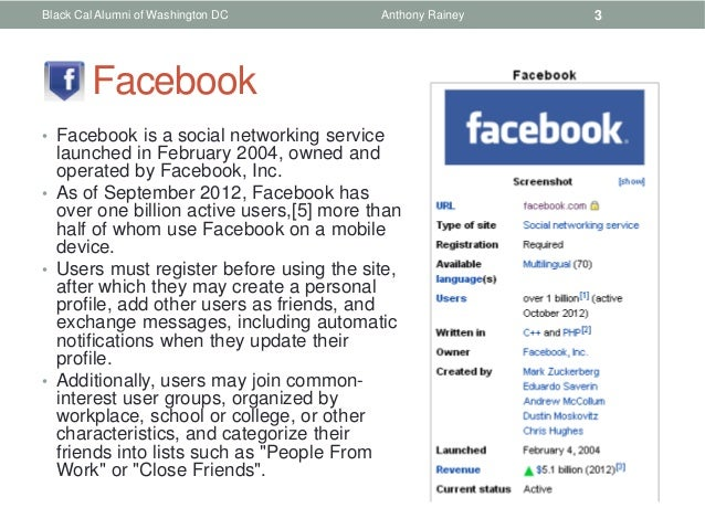 Black Cal Alumni of Washington DC         Anthony Rainey   3        Facebook• Facebook is a social networking service  lau...