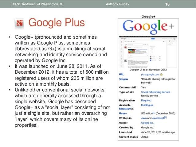 Black Cal Alumni of Washington DC           Anthony Rainey   10           Google Plus• Google+ (pronounced and sometimes  ...