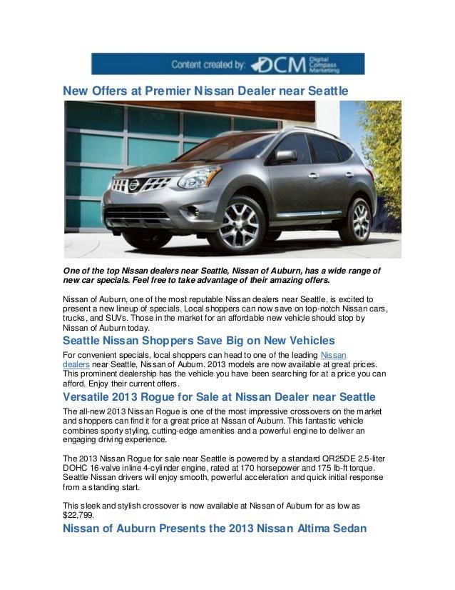 Nissan Dealership Seattle >> New Offers At Premier Nissan Dealer Near Seattle
