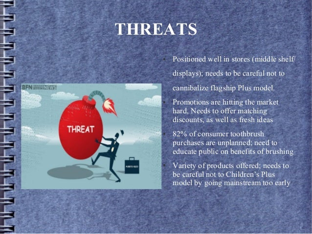 THREATS ● Positioned well in stores (middle shelf/ displays); needs to be careful not to cannibalize flagship Plus model. ...