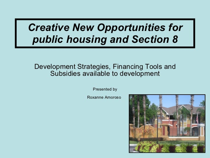 Creative New Opportunities for public housing and Section 8 Development Strategies, Financing Tools and Subsidies availabl...