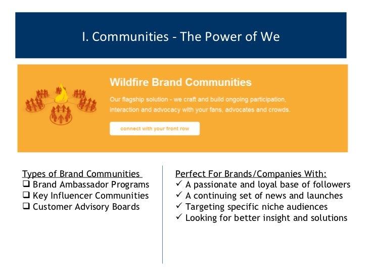 I. Communities - The Power of We <ul><ul><li>Types of Brand Communities  </li></ul></ul><ul><ul><li>Brand Ambassador Progr...