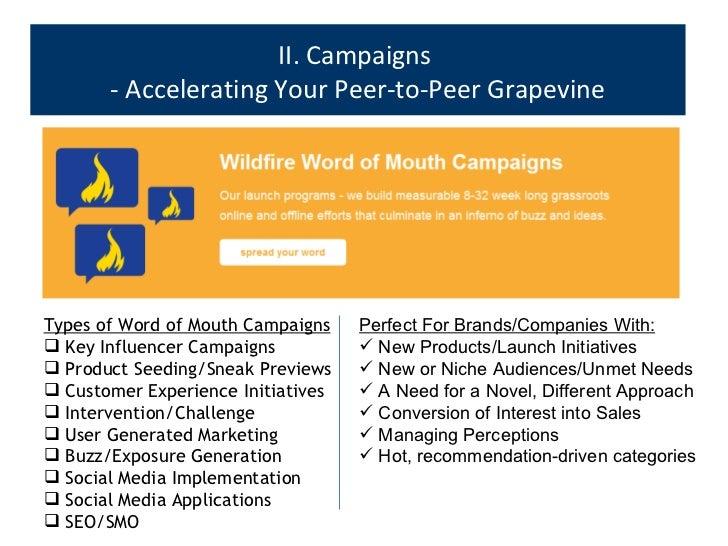 II. Campaigns  - Accelerating Your Peer-to-Peer Grapevine <ul><ul><li>Types of Word of Mouth Campaigns </li></ul></ul><ul>...