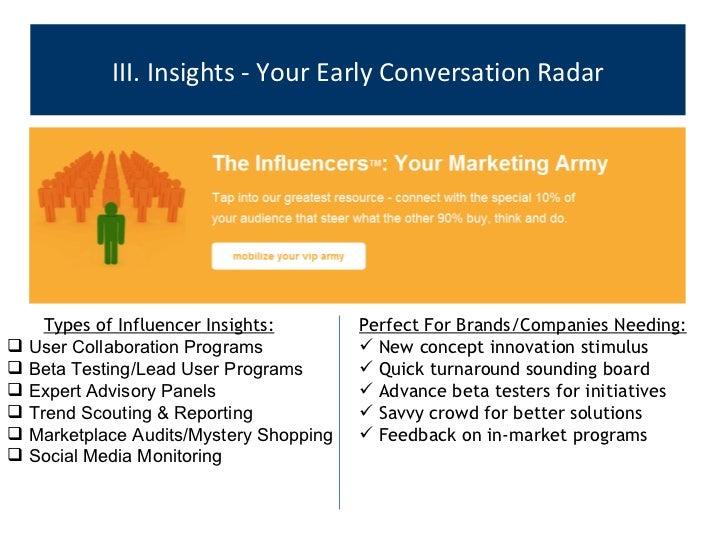 III. Insights - Your Early Conversation Radar <ul><ul><li>Types of Influencer Insights: </li></ul></ul><ul><li>User Collab...