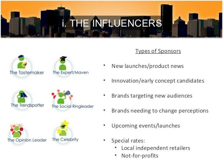 <ul><li>Types of Sponsors </li></ul><ul><li>New launches/product news </li></ul><ul><li>Innovation/early concept candidate...