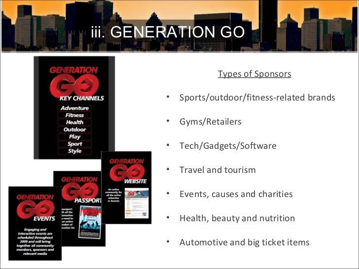<ul><li>Types of Sponsors </li></ul><ul><li>Sports/outdoor/fitness-related brands </li></ul><ul><li>Gyms/Retailers  </li><...