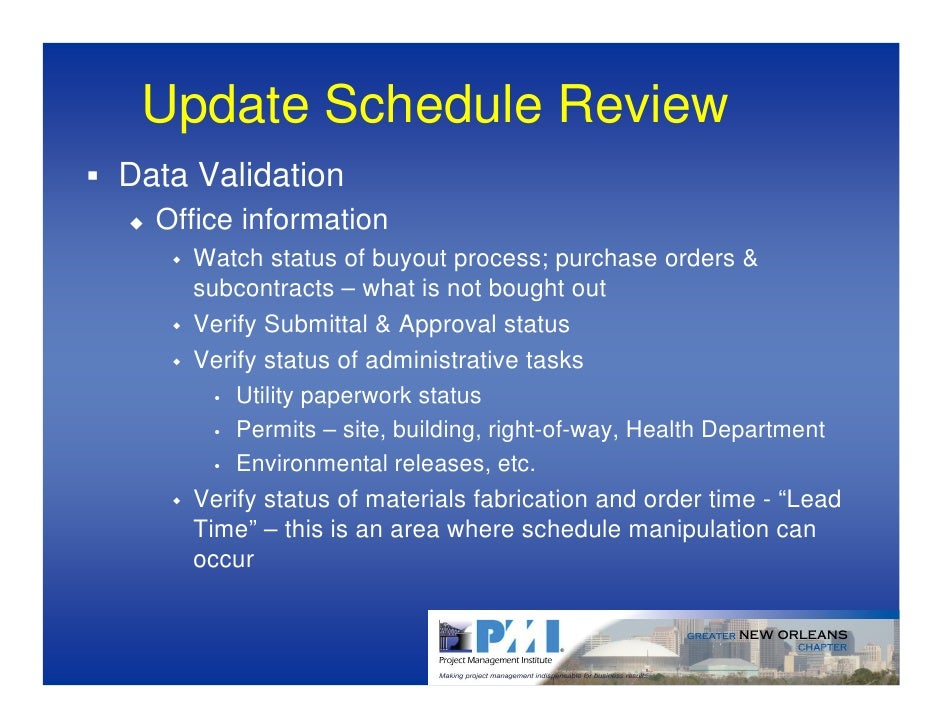 Schedule Review PMI