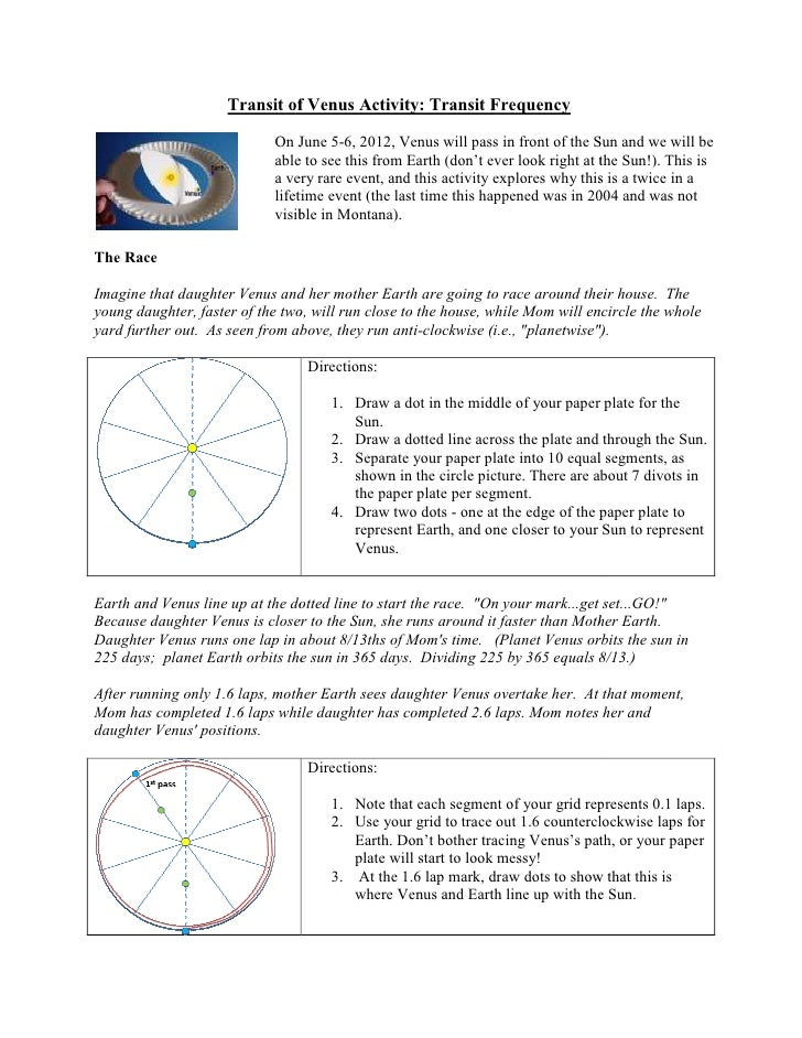 Transit of Venus Activity: Transit Frequency                            On June 5 6, 2012, Venus will pass in front of the...
