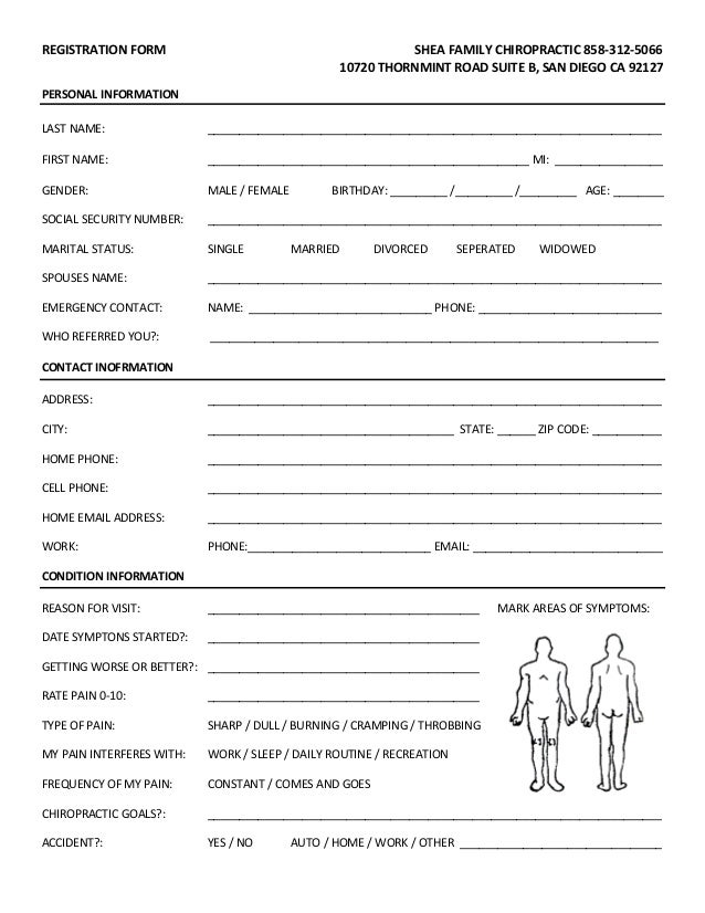 free patient information form template - new patient forms