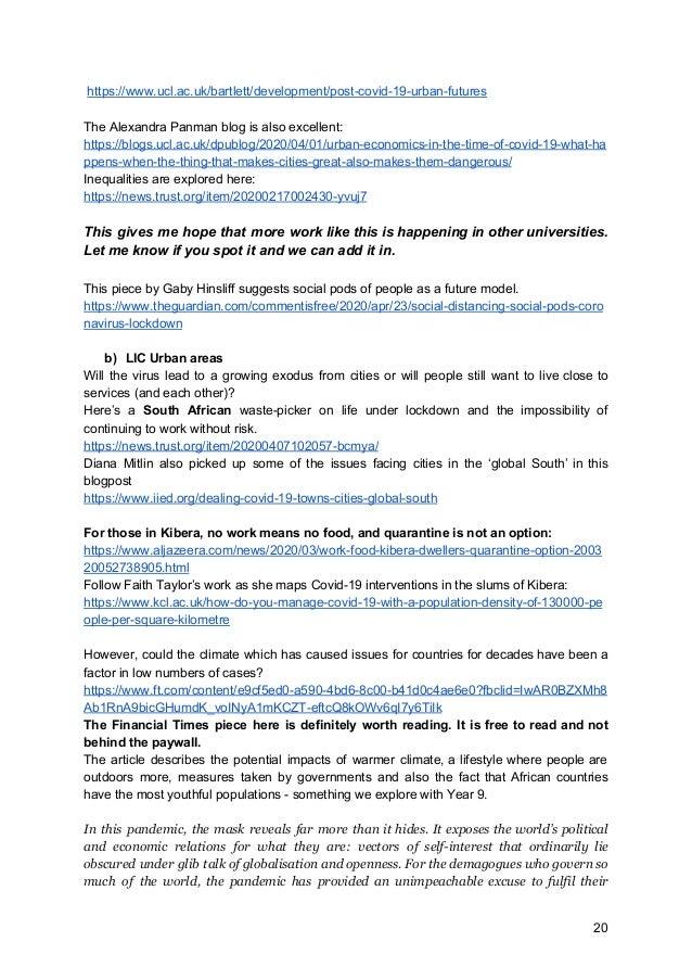 https://www.ucl.ac.uk/bartlett/development/post-covid-19-urban-futures The Alexandra Panman blog is also excellent: https...