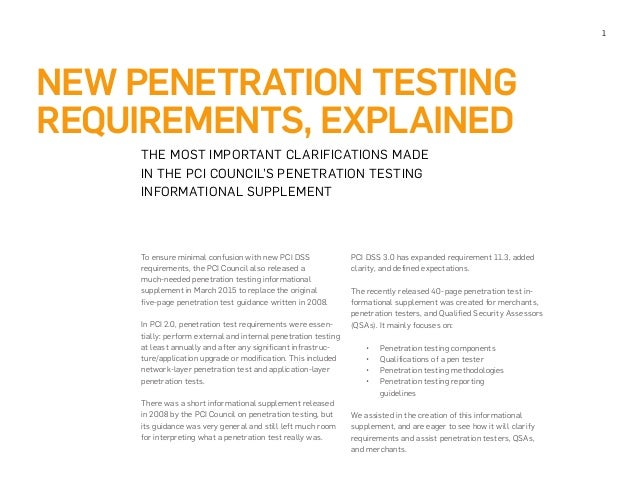 Penetration test requirements