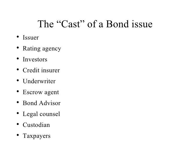 """The """"Cast"""" of a Bond issue <ul><li>Issuer </li></ul><ul><li>Rating agency </li></ul><ul><li>Investors </li></ul><ul><li>Cr..."""