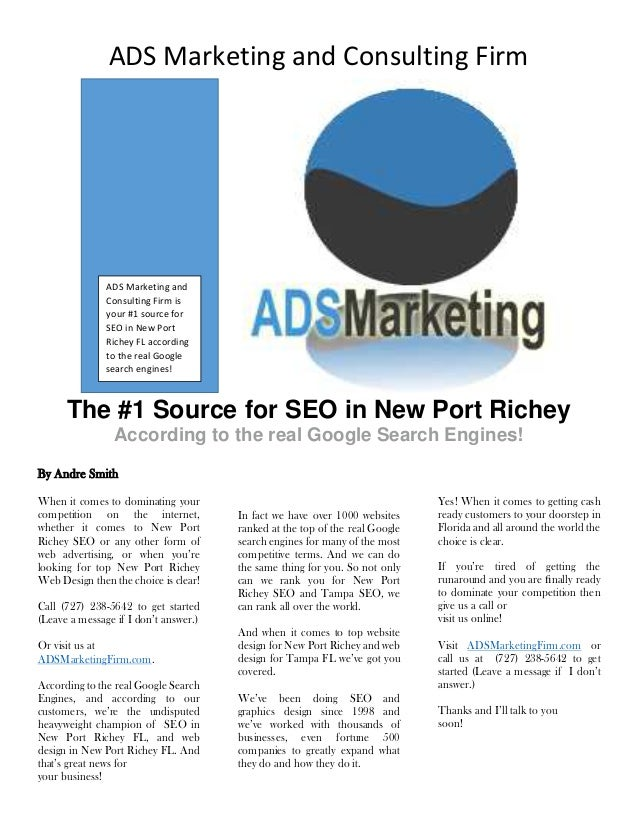ADS Marketing and Consulting Firm The #1 Source for SEO in New Port Richey According to the real Google Search Engines! By...
