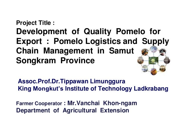 Project Title :Development of Quality Pomelo forExport : Pomelo Logistics and SupplyChain Management in SamutSongkram Prov...