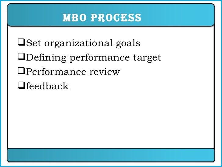 MBO Process <ul><li>Set organizational goals </li></ul><ul><li>Defining performance target </li></ul><ul><li>Performance r...
