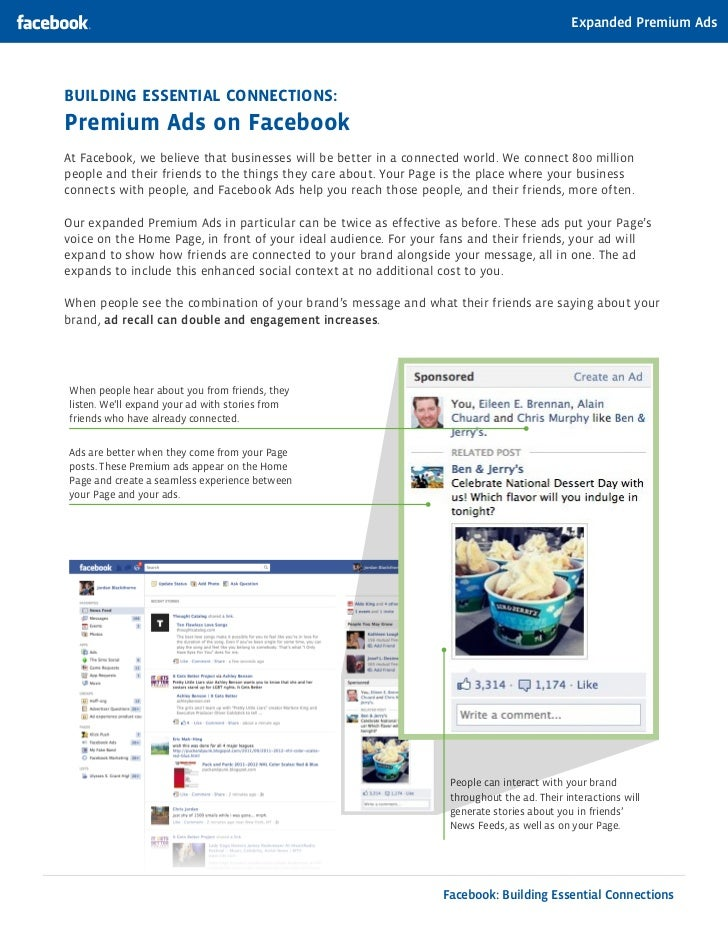 Expanded Premium AdsBuilding EssEntial ConnECtions:Premium ads on FacebookAt Facebook, we believe that businesses will be ...