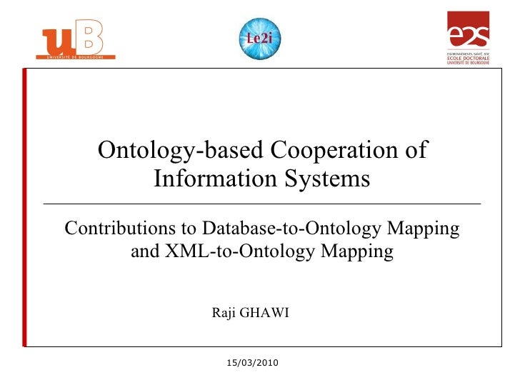 Ontology-based Cooperation of Information Systems Contributions to Database-to-Ontology Mapping and XML-to-Ontology Mappin...