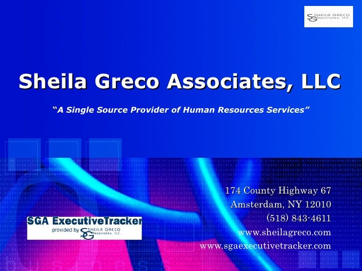 """Sheila Greco Associates, LLC   """" A Single Source Provider of Human Resources Services""""   174 County Highway 67 Amsterdam, ..."""