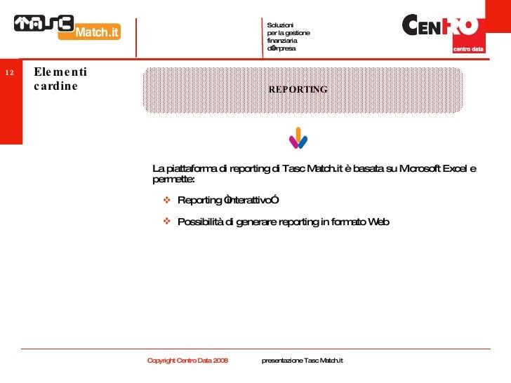 Elementi cardine <ul><li>La piattaforma di reporting di Tasc Match.it è basata su Microsoft Excel e permette: </li></ul><u...