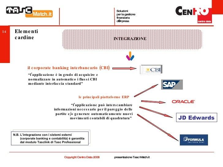 """Elementi cardine INTEGRAZIONE il corporate banking interbancario (CBI) le principali piattaforme ERP JD Edwards """" l'applic..."""