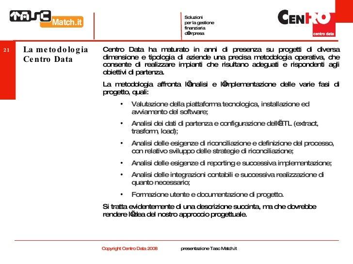 La metodologia Centro Data <ul><li>Centro Data ha maturato in anni di presenza su progetti di diversa dimensione e tipolog...