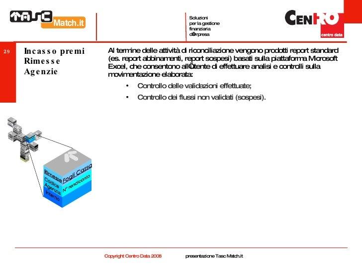 Incasso premi Rimesse Agenzie <ul><li>Al termine delle attività di riconciliazione vengono prodotti report standard (es. r...