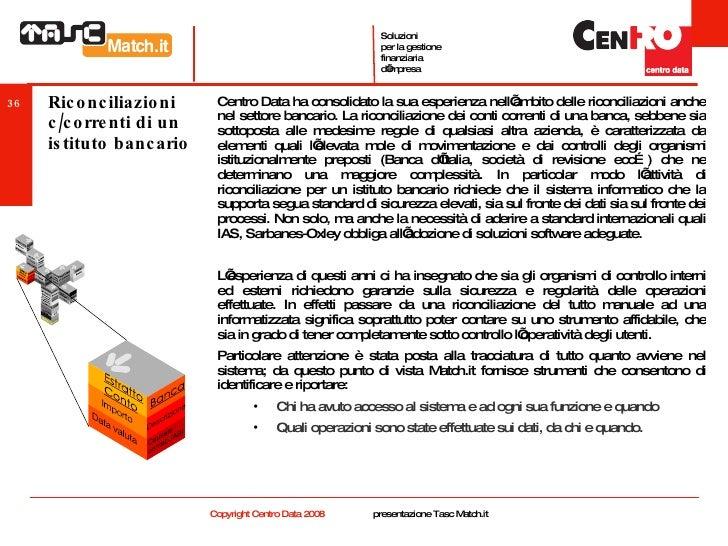 Riconciliazioni c/correnti di un istituto bancario <ul><li>Centro Data ha consolidato la sua esperienza nell'ambito delle ...