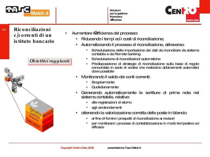 Riconciliazioni c/correnti di un istituto bancario <ul><ul><li>Aumentare l'efficienza del processo: </li></ul></ul><ul><ul...